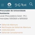 Procurador Assistente Unicamp edital