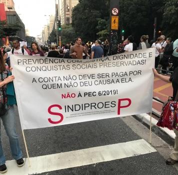 SindiproesP participa de manifestação no dia da GREVE GERAL- 14/06