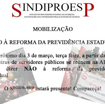 MOBILIZAÇÃO – NÃO à reforma da previdência estadual